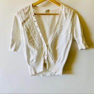 J. Jill Short Sleeved White Cropped Sweater